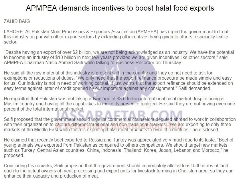 Meat Exporters Demands