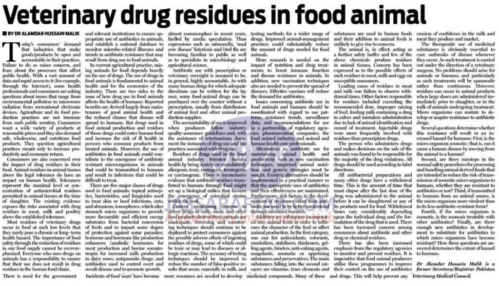 Veterinary Drug Residues in Food Animals