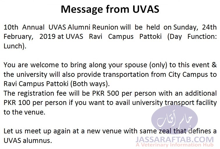 alumni association UVAS 10th Reunion
