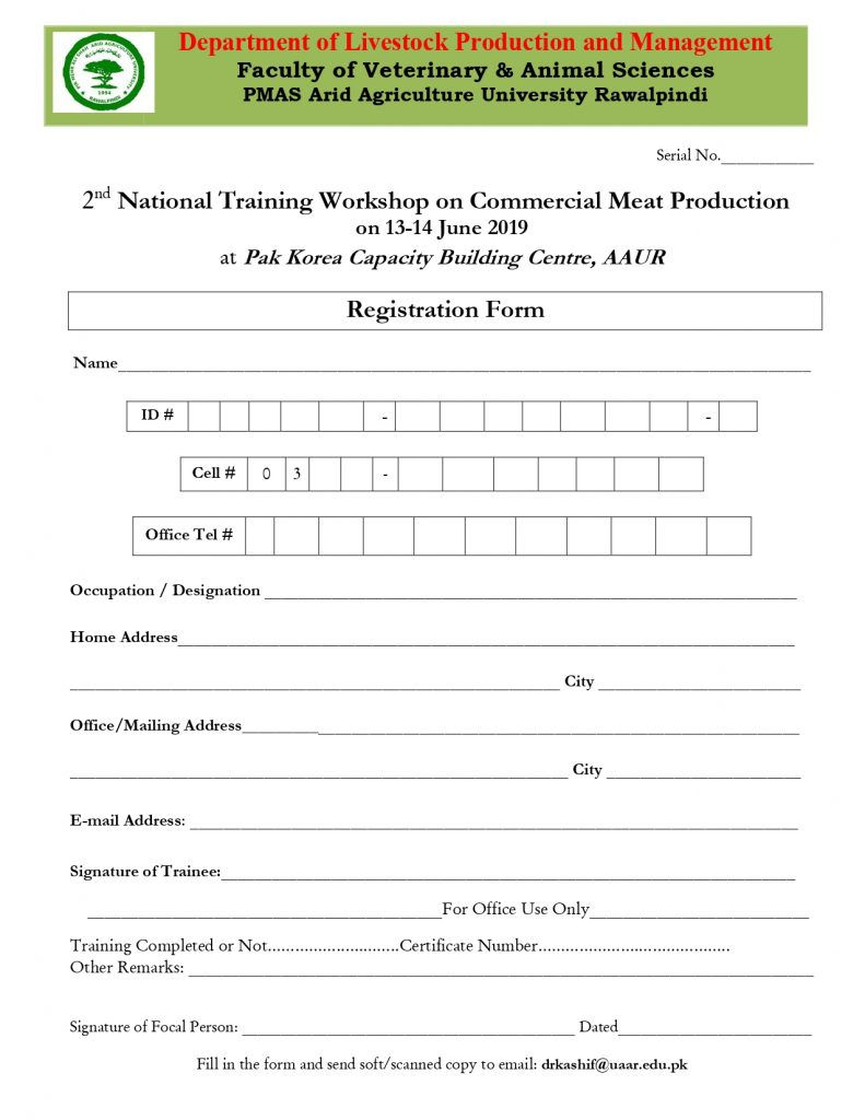 meat Production Training Form