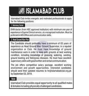 Islamabad club job