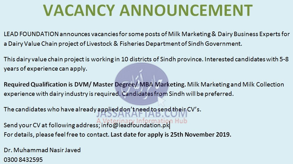 jobs for veternarian in Dairy value chain project