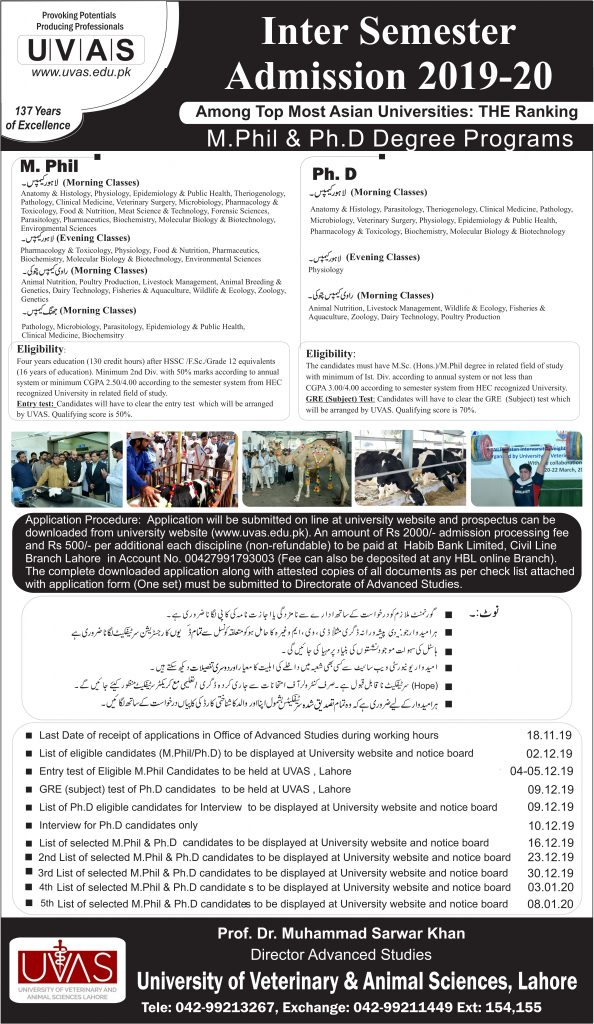 Phd and M phil admissions
