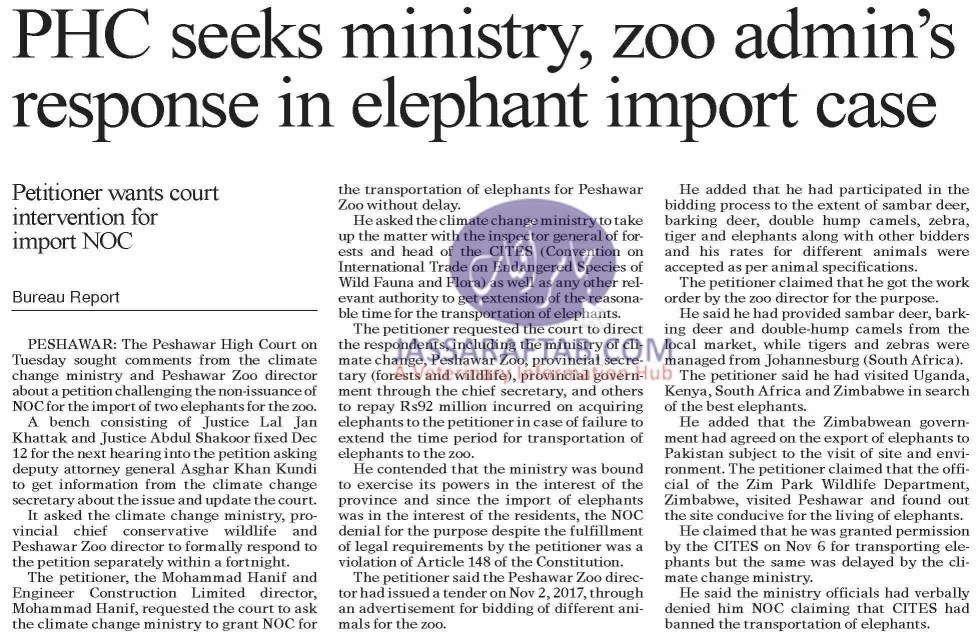 Elephants import for Pershawar zoo