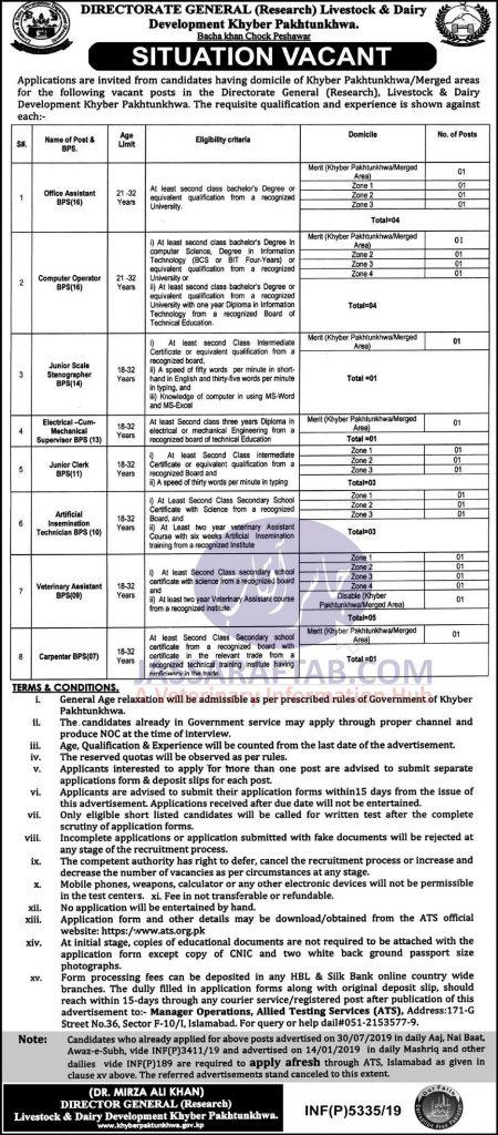 vet assitant job KPK Peshawar