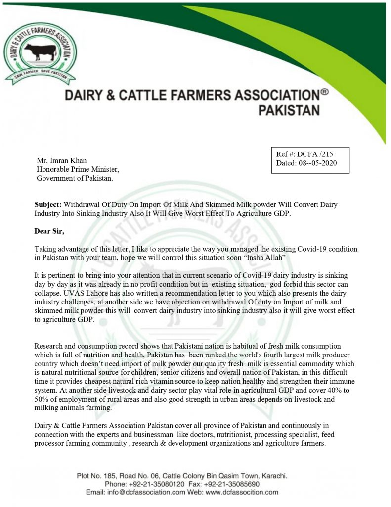 Dairy Farmers Association Letter