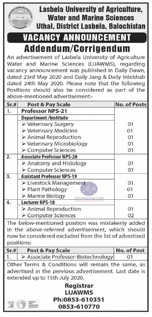 Jobs at Lasbela University of Agriculture, Water and Marine Sciences