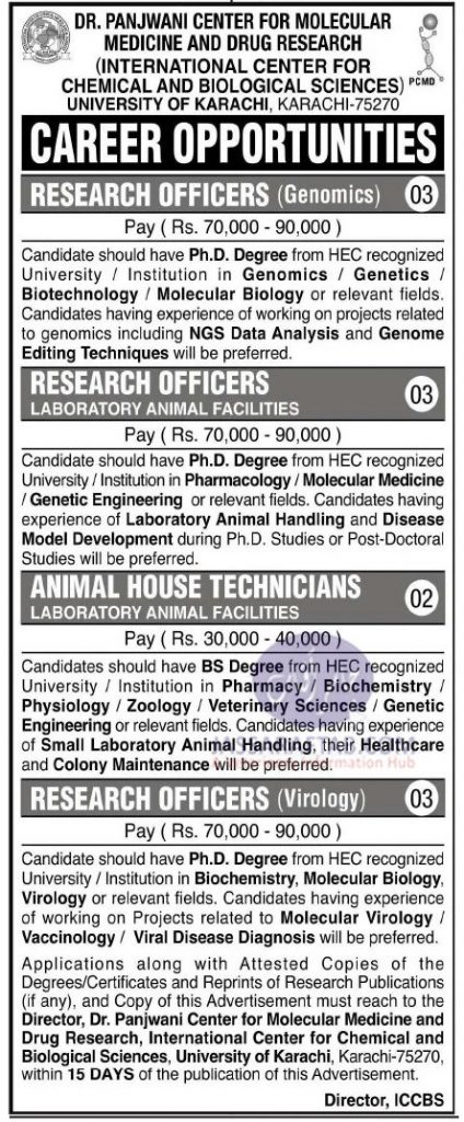 Job opportunities  at Dr. Panjwani Center For Molecular Medicine & Drug Research
