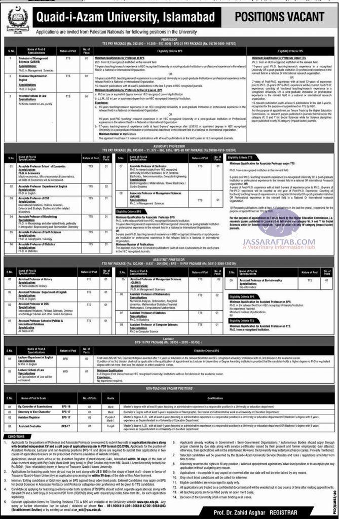Quaid e Azam University Job