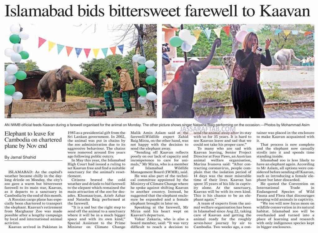 A farewell ceremony for elephant Kaavan