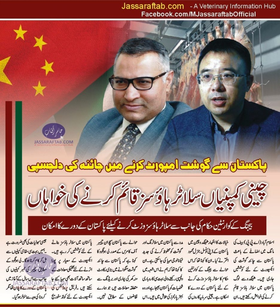 Chinese companies want to develop slaughterhouses in Pakistan