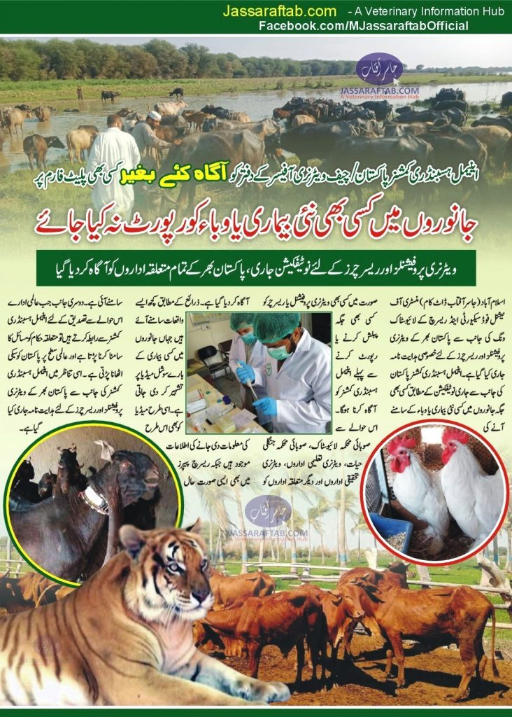 animal disease reporting instructions in Pakistan