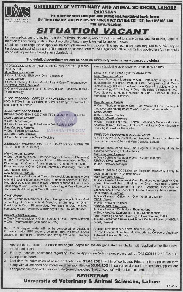 UVAS teaching and administrative jobs