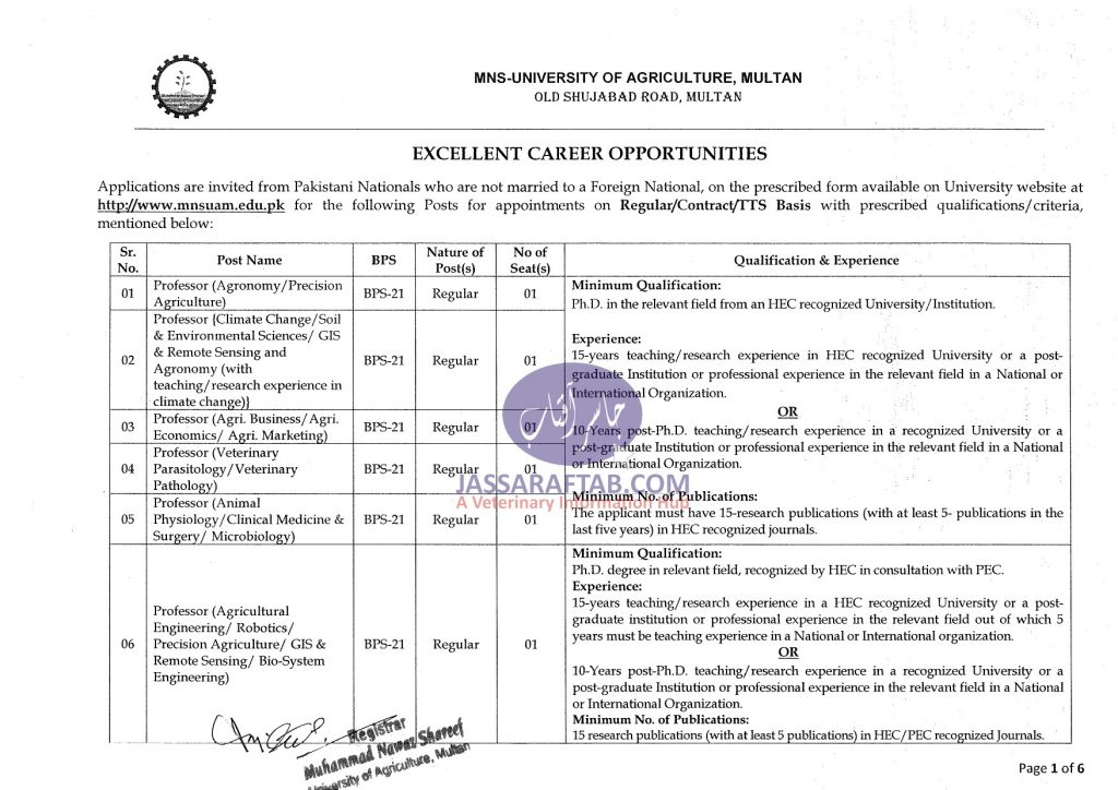 nawaz sharif agriculture university job