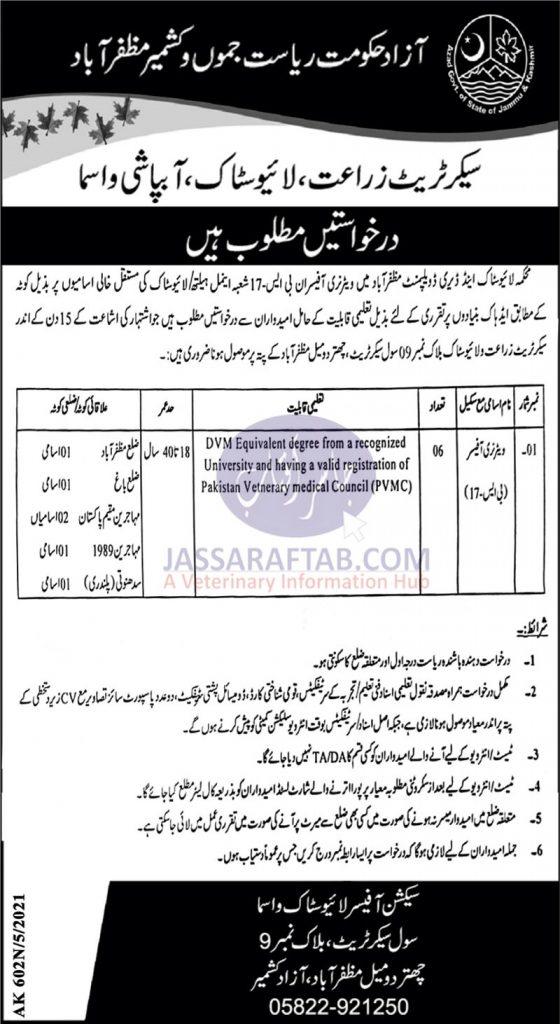 Muzaffarabad livestock department job