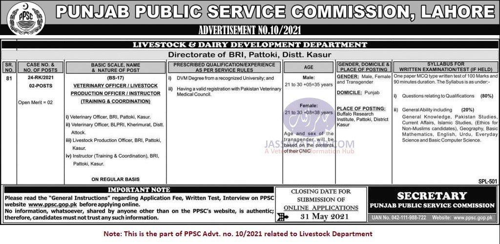 PPSC DVM Jobs