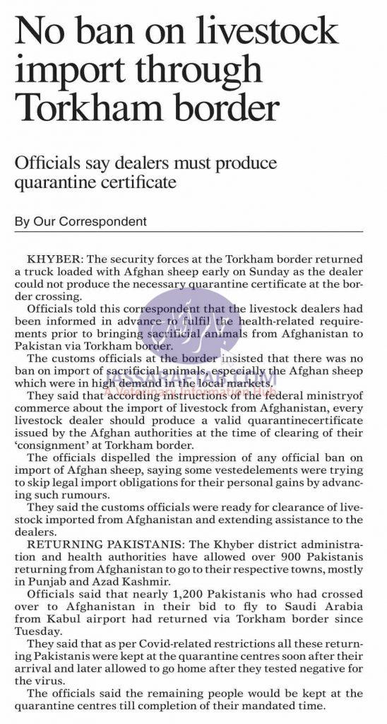 ivestock import through Torkham border