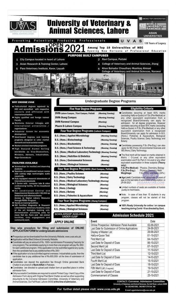 UVAS undergraduate admission