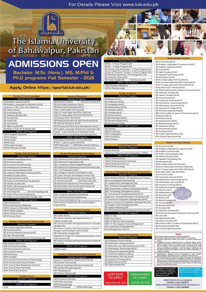 Islamia university bahawalpur admission