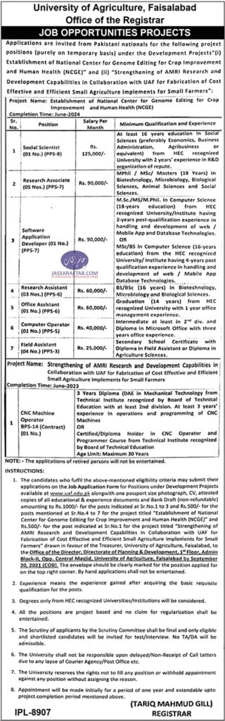 UAF Research Project Jobs